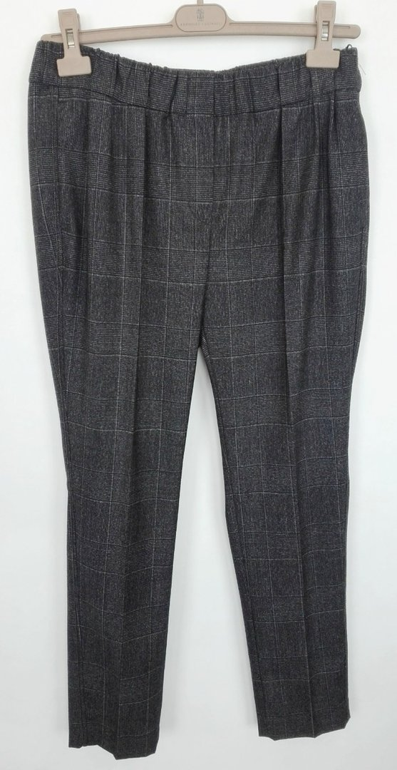 Brunello Cucinelli, housu, 100% Virginwool, harmaa ruutu